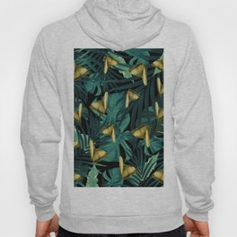 Tropical Butterfly Jungle Night Leaves Pattern #6 #tropical #decor #art #society6 Hoody