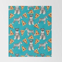 schnauzer pizza dog breed pet pattern dog mom Throw Blanket