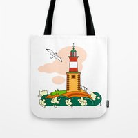 lighthouse Tote Bags featuring Lighthouse by LaDa