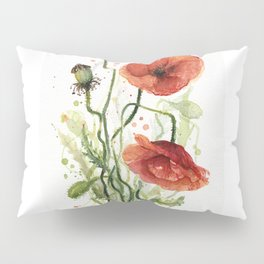Red Poppies Watercolor Pillow Sham