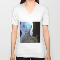 robot V-neck T-shirts featuring Robot by Amy Bannister