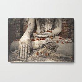 Buddha with flowers Metal Print