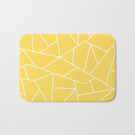White Mosaic Lines On Mustard Yellow Bath Mat