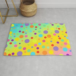Gorgeous Rainbow Gradient with Colorful Polka Dots Rug