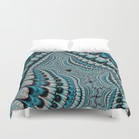 headdress Duvet Covers featuring Native American Headdress (fractal art) by    Amy Anderson
