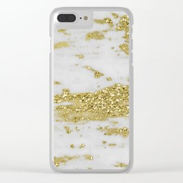 Marble - Glittery Gold Marble on White Design Clear iPhone Case