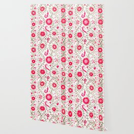 Whimsical Wildflower Red I // 19th Century Colorful Fuchsia Green Ornate Watercolor Pattern Wallpaper