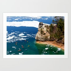 Kayaks & Ice Floes at Miners Castle - Pictured Rocks National Lakeshore Art Print
