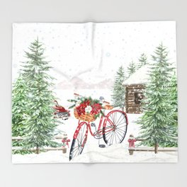 Winter Bicycle Throw Blanket