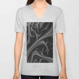 Charcoal Churn. 3d Abstract Art Unisex V-Neck