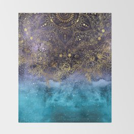 Gold floral mandala and confetti image Throw Blanket