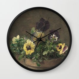 Henri Fantin-Latour - Potted Pansies Wall Clock