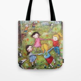 Autumn Mistral, playing ring-a-ring-a-rosie on a windy day Tote Bag