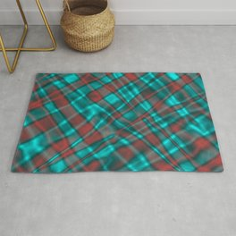 Bright metal mesh with light blue intersecting diagonal lines. Rug
