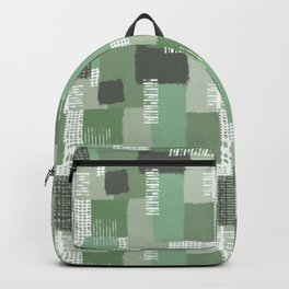 Olive Linen Abstract Color Block Pattern Backpack
