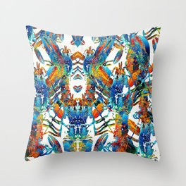 Colorful Lobster Collage Art - Sharon Cummings Throw Pillow