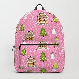 Alpine Ski lodge on Pink Backpack
