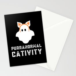 Purranormal cativity - cat ghost pun Stationery Cards