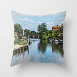 The River Avon At  Tewkesbury Throw Pillow