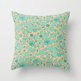 Fungi V2 Vintage Mushroom Pattern Throw Pillow