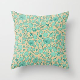 Fungi V2 Vintage Mushroom Pattern Throw Pillow