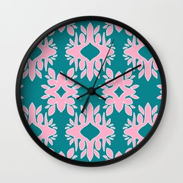 Katherine - Digital Symmetrical Abstract in Pink and Teal Wall Clock