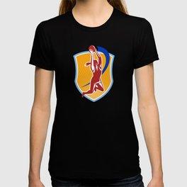 Netball Player Rebound Ball Retro T-shirt