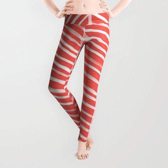 Coral Herringbone Leggings