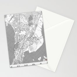 Mumbai Map Line Stationery Cards