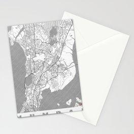 Mumbai Map Line Stationery Cards