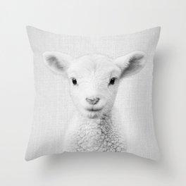 Lamb - Black & White Throw Pillow