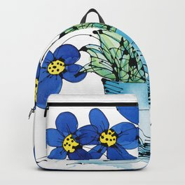 Seven Flowers (Blue): cheery original art in a loose style, simple flowers in a turquoise pot Backpack