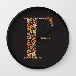 Retro Floral Letter F Wall Clock
