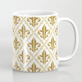 Gold Fleur-de-Lis Pattern Coffee Mug