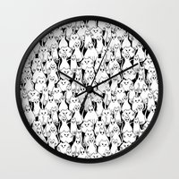 army Wall Clocks featuring Cat Army by From Flora With Love
