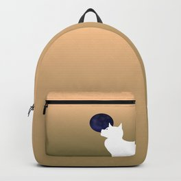 Moon and white cat Backpack