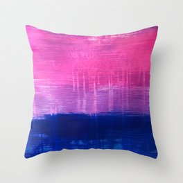 Bisexual Flag: abstract acrylic piece in pink, purple, and blue #pridemonth Throw Pillow