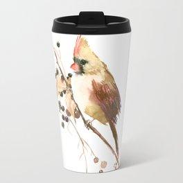 Cardinal Bird and Fall Berries Travel Mug