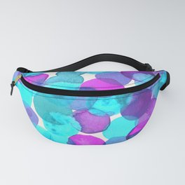 Watercolor Circles - Bright Turquoise and Purple Palette Fanny Pack