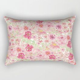 Pastel pink red watercolor hand painted floral Rectangular Pillow
