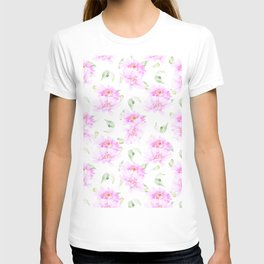 Hand painted pink lavender green watercolor floral T-shirt