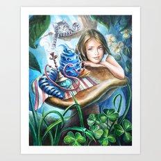 Alice and blue caterpillar Art Print