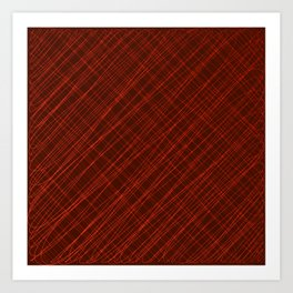 Cross ornament of their red threads and iridescent intersecting fibers. Art Print