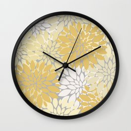 Abstract Vintage Yellow And Gray Botanical Big Flowers Garden Wall Clock