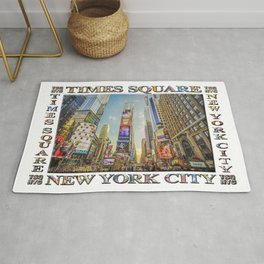 Times Square Hustle (white poster edition) Rug