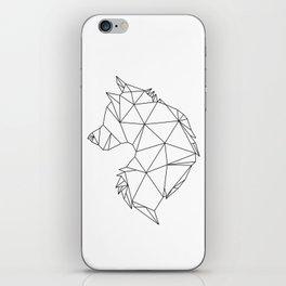 Geometric Wolf (Black on White) iPhone Skin