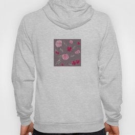 Watercolor pink & red peonies on dusty pink background Hoody