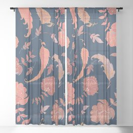 Paradise Patterns - Blue & Coral Sheer Curtain
