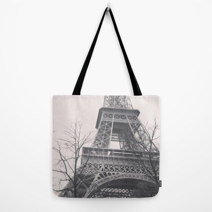Eiffel tower, Paris, black & white photo, b&w fine art, tour, city, landscape photography, France Tote Bag