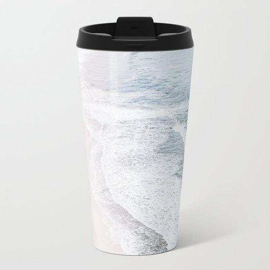 Vintage Faded ocean waves Metal Travel Mug